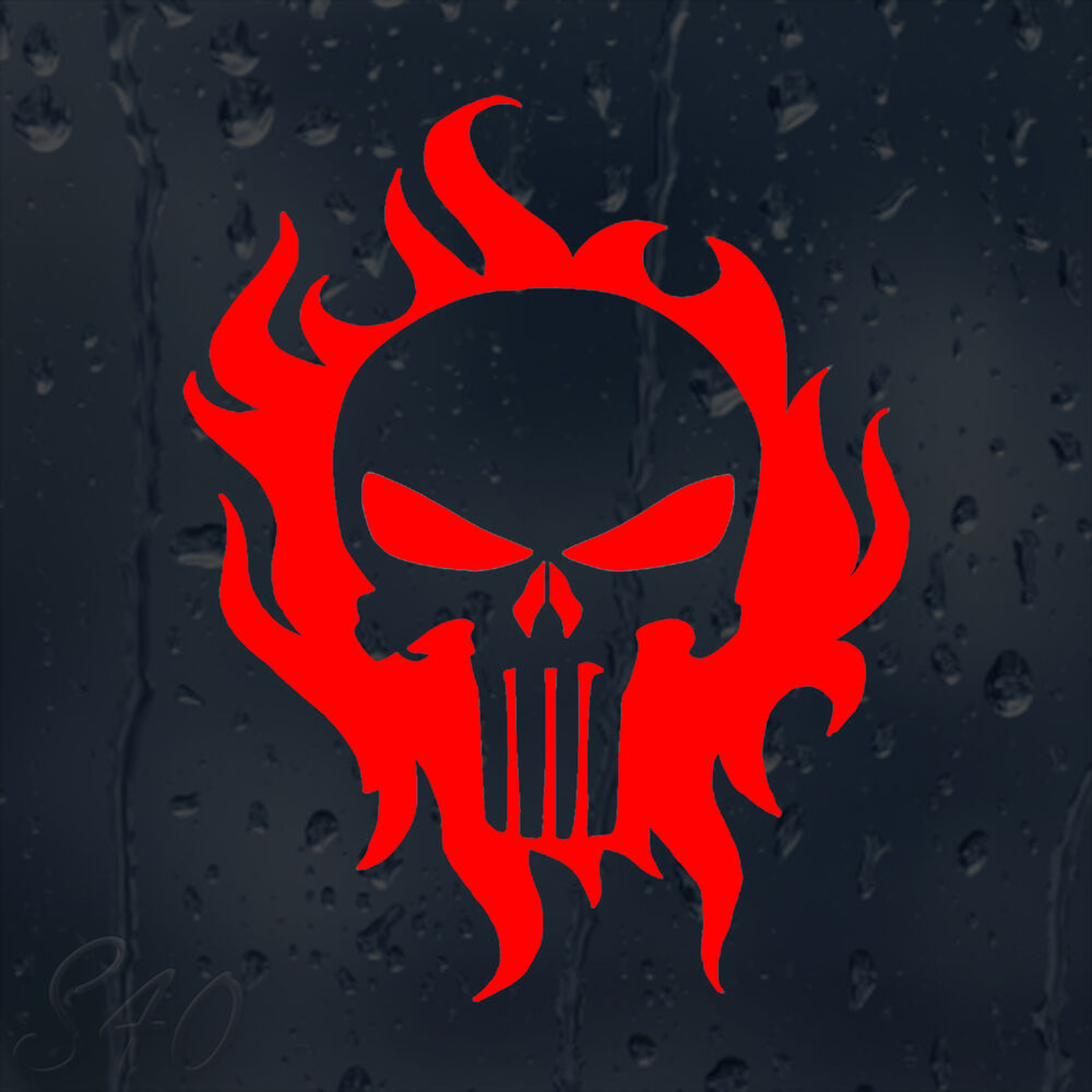 Fire flames punisher skull car decal vinyl sticker for