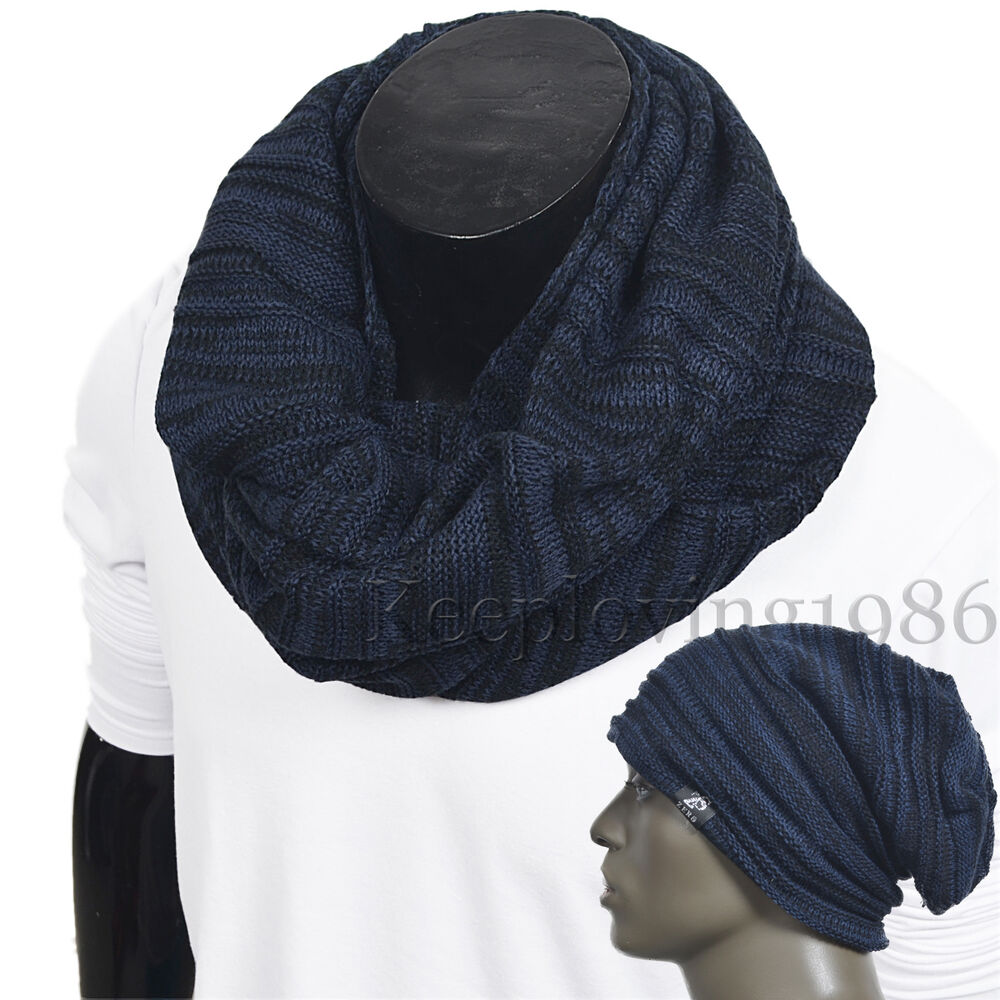 classical knit men infinity scarf soft neckerchief winter