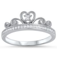 .925 Sterling Silver Royal Heart Crown Clear CZ Promise ...