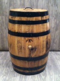 OLD WHISKEY BARREL DECORATIVE TRASH BARREL JD BARRELS ...