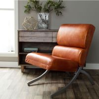 Faux Leather CHAIRS Contemporary Rust Accent Living ...