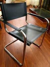 Matteo Grassi Italian LEATHER CHROME BAUHAUS CANTILEVER ...