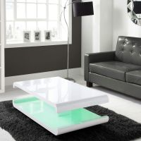 White High Gloss Coffee Table With Multi-Colour LED ...