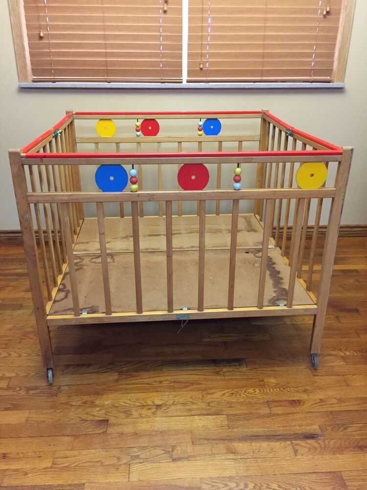 Baby Playpen Ebay Uk Vintage Childs Craft Baby Infant Wooden Folding Playpen On