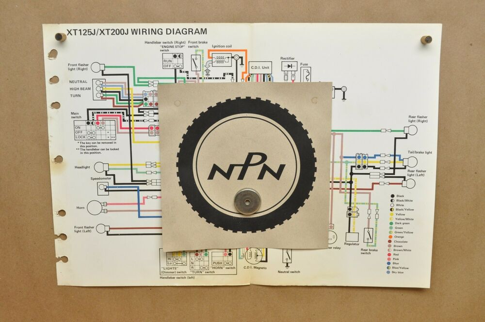 Vtg 1982 Yamaha XT125 J XT200 J Factory Color Schematic Wire Wiring