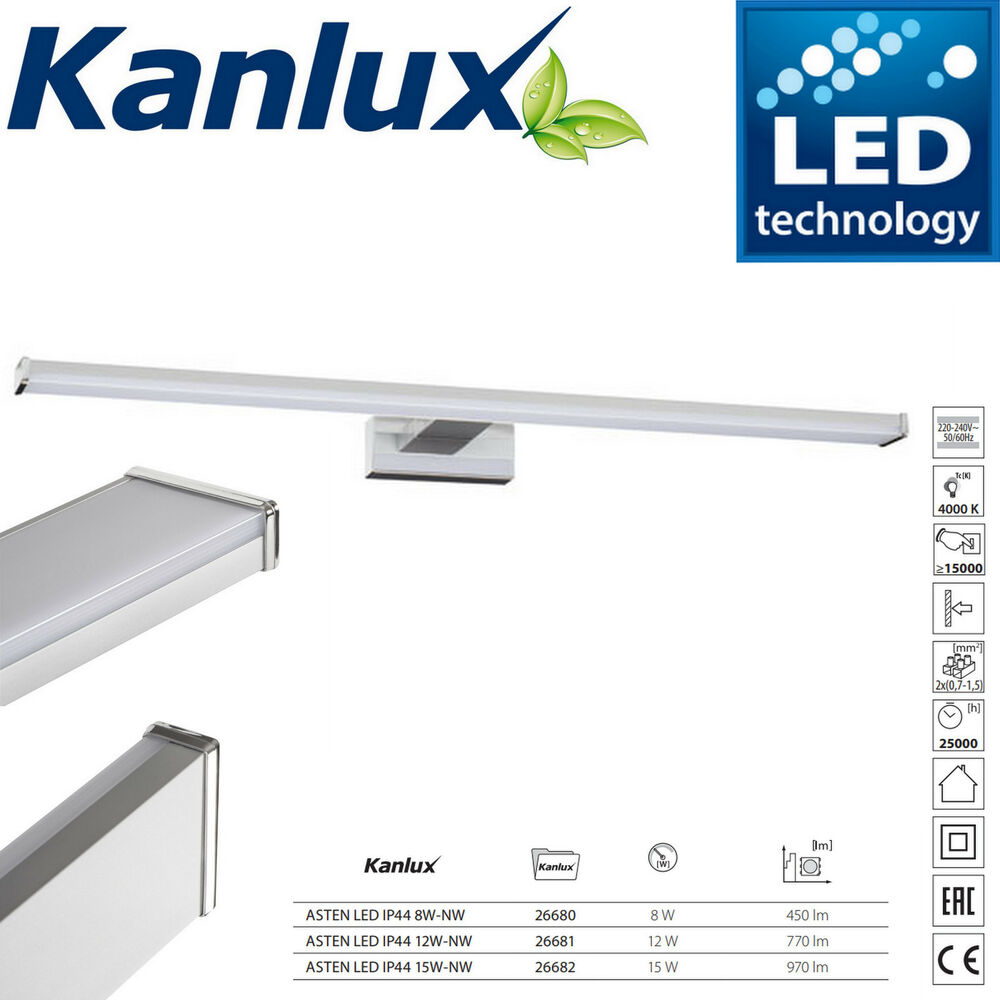 Bagno Design Bradford Kanlux Asten Designer Led Bathroom Ip44 Over Mirror Light Picture Wall Fixed 8w Ebay