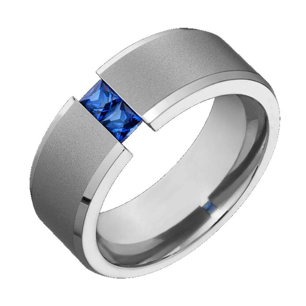 sapphire wedding band Mens Titanium Wedding Band Blue Sapphire Tension Set Comfort Fit Ring Sz 4 to 14