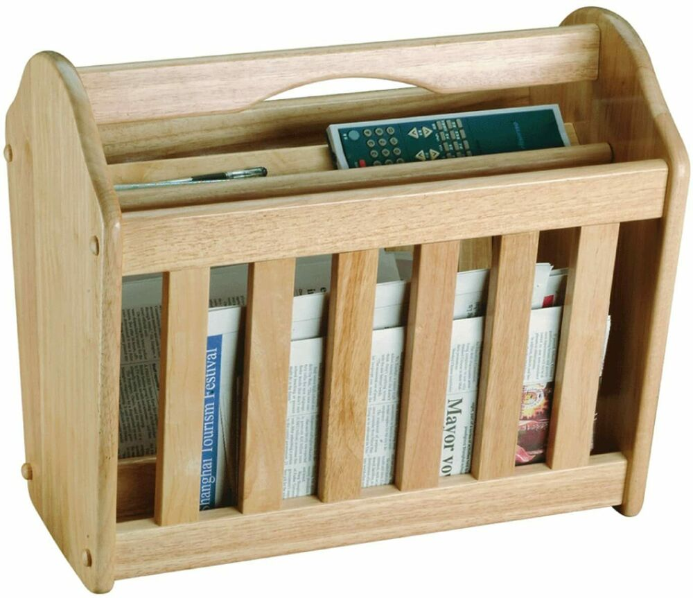 Wood Magazine News Paper Pen Pencil Remote Stand Rack