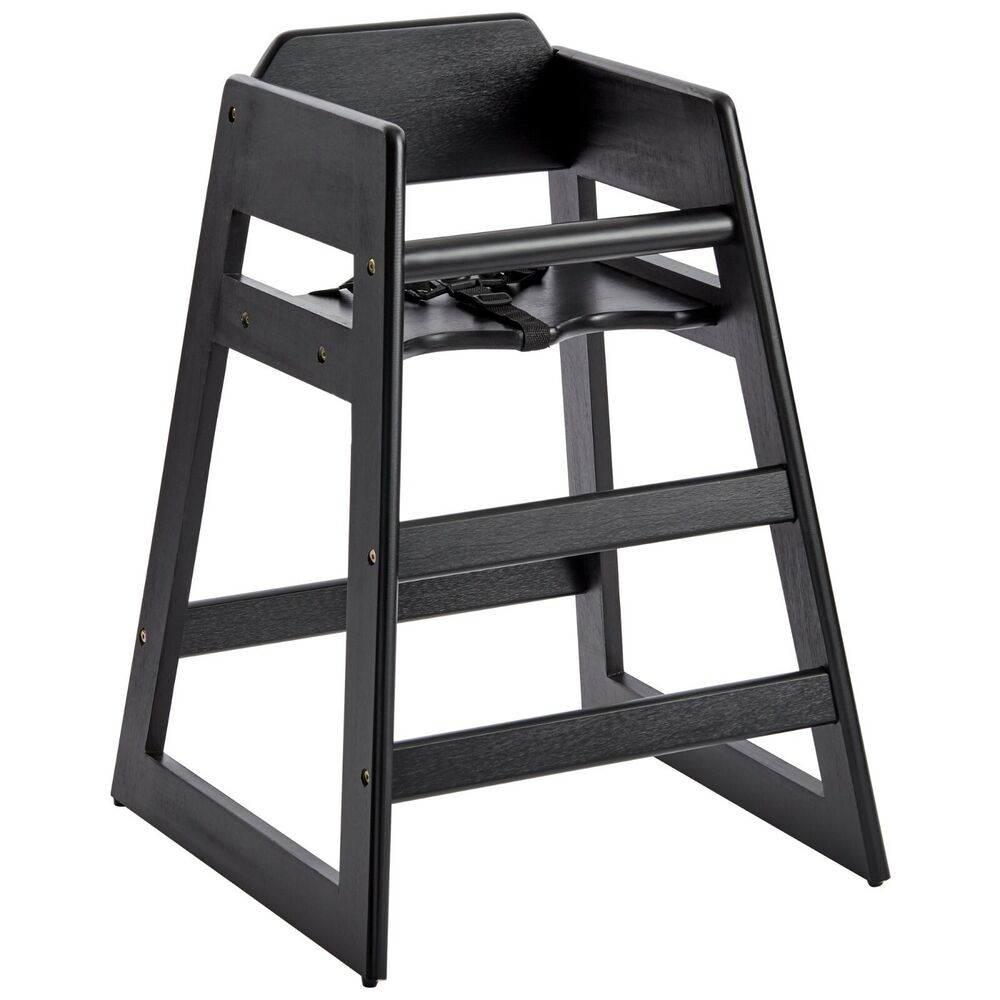 Restaurant Stackable Style Wooden High Chair Espresso