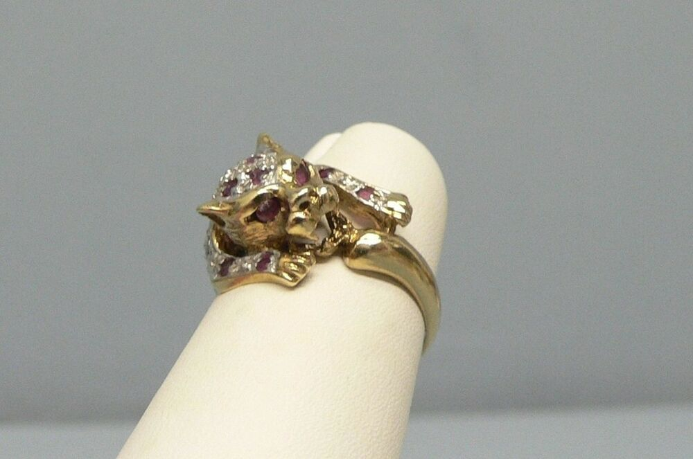 Antique Watches Beautiful 14k Gold Ruby Leopard Ring Size 9 | Ebay