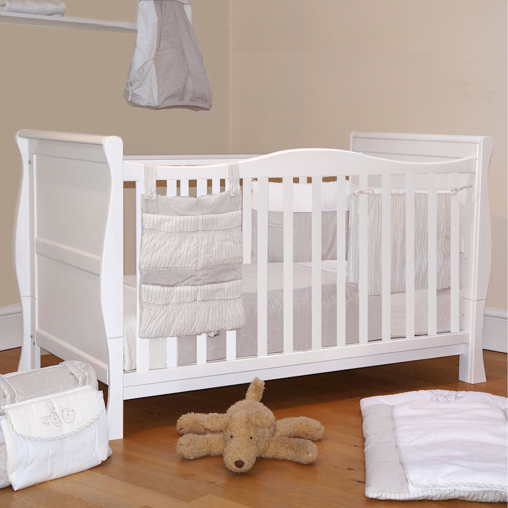 4baby 3 In 1 White Sleigh Cot Bed Baby Cotbed With Foam