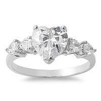 .925 Sterling Silver Heart Cubic Zirconia Wedding Promise ...