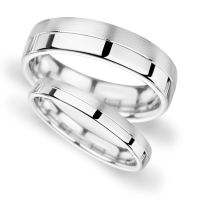 White Gold Band His and Hers set of Wedding Rings Half ...