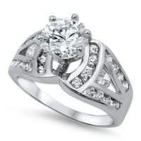.925 Sterling Silver Round Cut Clear CZ Wedding Promise ...