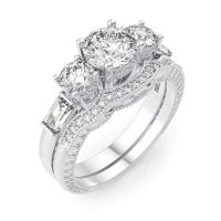 4 CARAT .925 STERLING SILVER ROUND WEDDING ENGAGEMENT RING ...