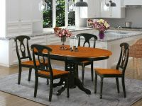 5-PC OVAL DINETTE KITCHEN DINING SET TABLE w/ 4 WOOD SEAT ...