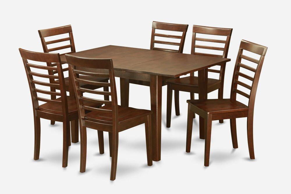 7 Pc Set Rectangular Dinette Kitchen Table With 6 Wood