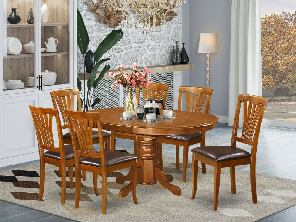 7pc Avon Oval Kitchen Dining Table W 6 Leather Seat