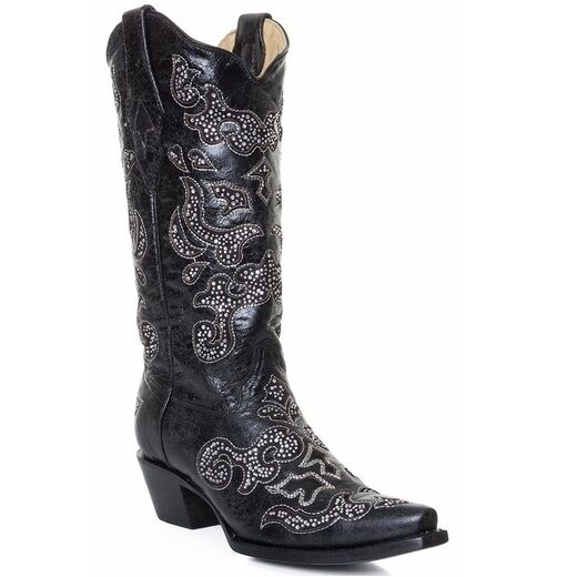 Corral Ladies Black Inlay And Crystal Cowboy Boots A1192