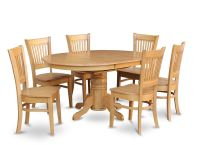 7-PC OVAL DINETTE KITCHEN DINING ROOM SET TABLE w/ 6 WOOD ...