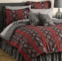 SNAKESKIN COBRA PYTHON Bedding Red Black Gray Comforter ...