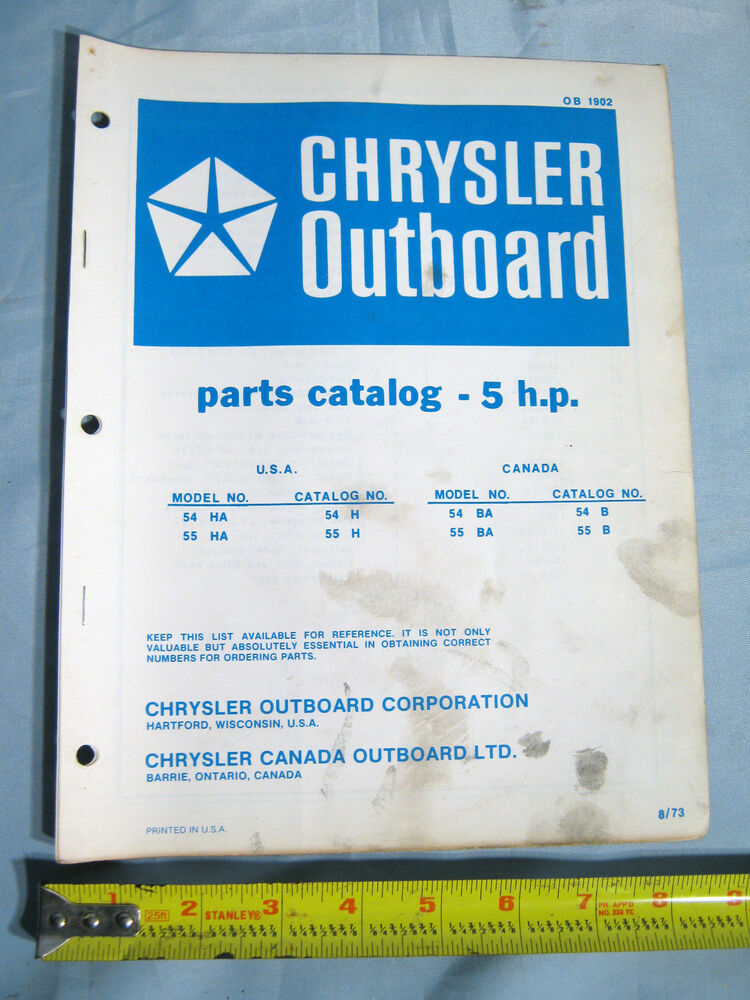 1973 Chrysler Marine 5 HP Models Outboard Boat Motor Parts Catalog