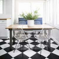 Chequer board Non Slip Vinyl Flooring Lino Kitchen Black ...