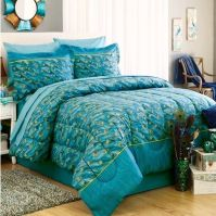 PEACOCK FEATHERS Teal Blue Green Exotic Bird Bedding 6-8p ...