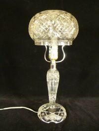 VINTAGE CUT CRYSTAL TABLE LAMP WITH CUT CRYSTAL DOME SHADE ...