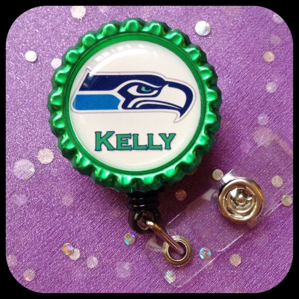 Seattle Seahawks Personalized Name Bottle Cap Id Badge