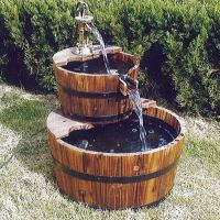 Outdoor Water Fountain Garden Wood Waterfall Feature Patio ...
