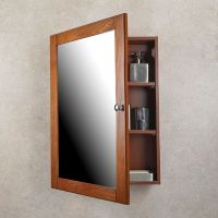 MEDICINE CABINET Oak Finish Single Framed Mirror Door ...
