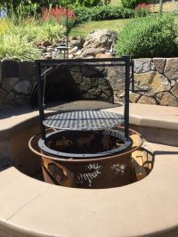 Fire pit barbecue attachment (Santa Maria style, Crank ...