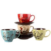 Set of 6 Quirky Ceramic Coffee Cups And Saucers Tea MUG ...
