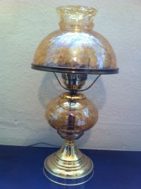 Vintage Lamp Crackle Carnival Amber Hurricane Retro Light