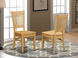 Set Of 2 Vancouver Dinette Kitchen Dining Chairs W Plain Wood Seat In Light Oak Ebay