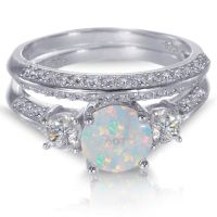 White Gold Sterling Silver Round Cut White Fire Opal ...