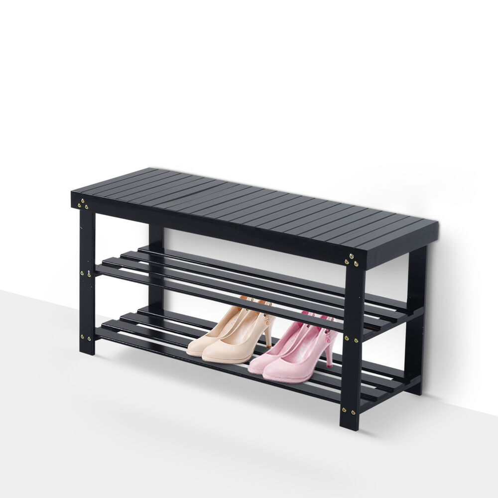 Homcom Wooden Shoe Bench Rack Seat 2 Shelves Storage