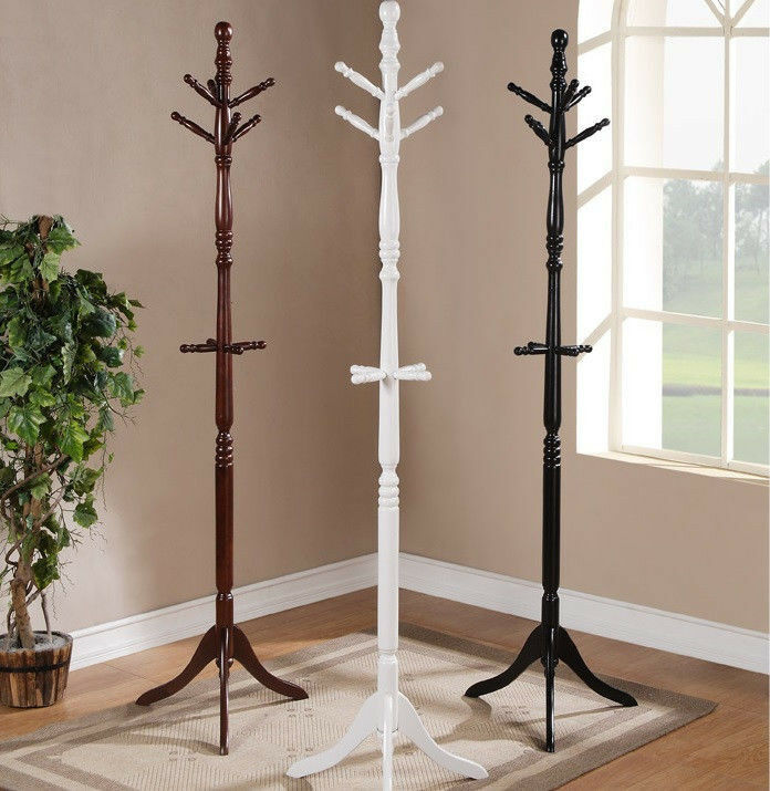 6 Hooks Cherry Twist Center Stand Hall Tree Solid Wood