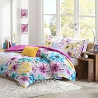 Floral Comforter Set Twin Bed Flowers Girls Pink Bedding