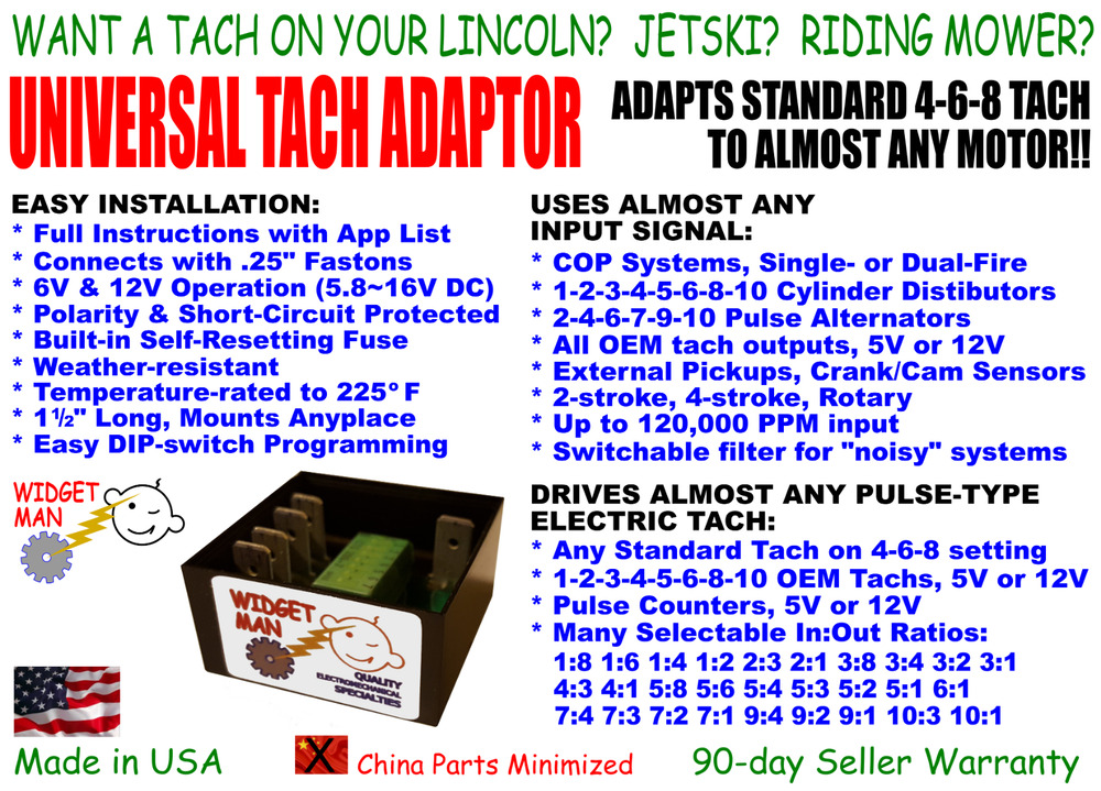 UNIVERSAL TACH ADAPTER / CONVERTER, COP-1-2-3-4-5-6-8-10 cyl to any