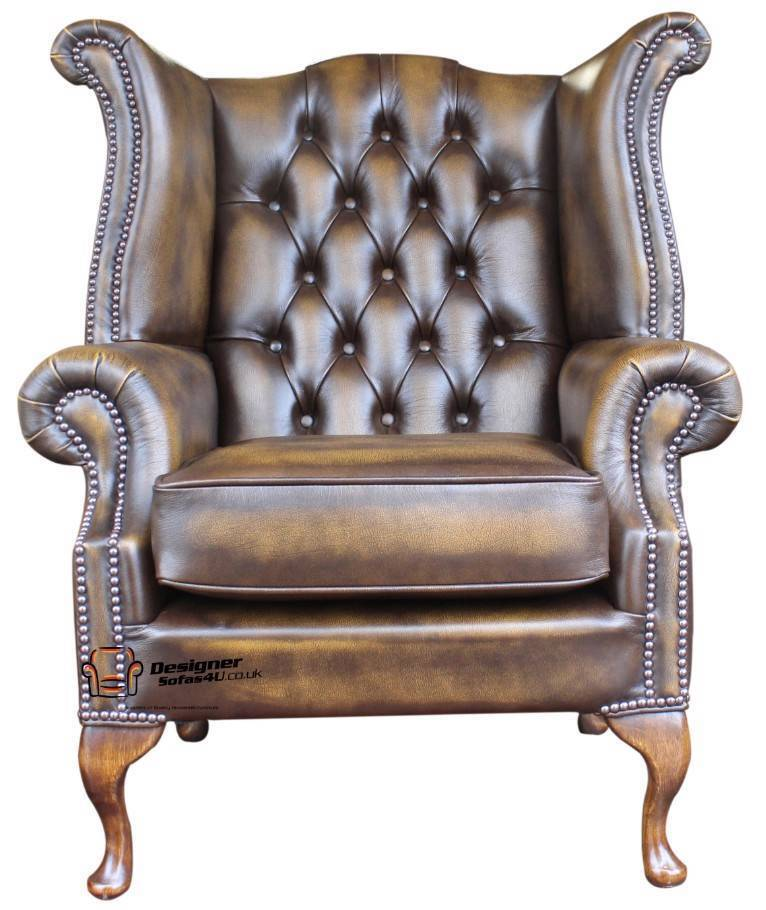 Chesterfield Armchair Queen Anne High Back Fireside Wing - Leather Queen Chair