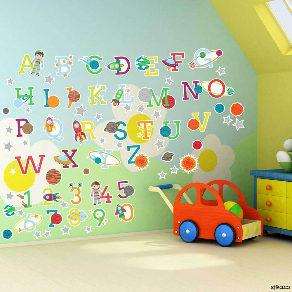 Planets Wall Art Space Planets Alphabet Letters And Numbers Self Adhesive Vinyl Wall Art Stickers Ebay