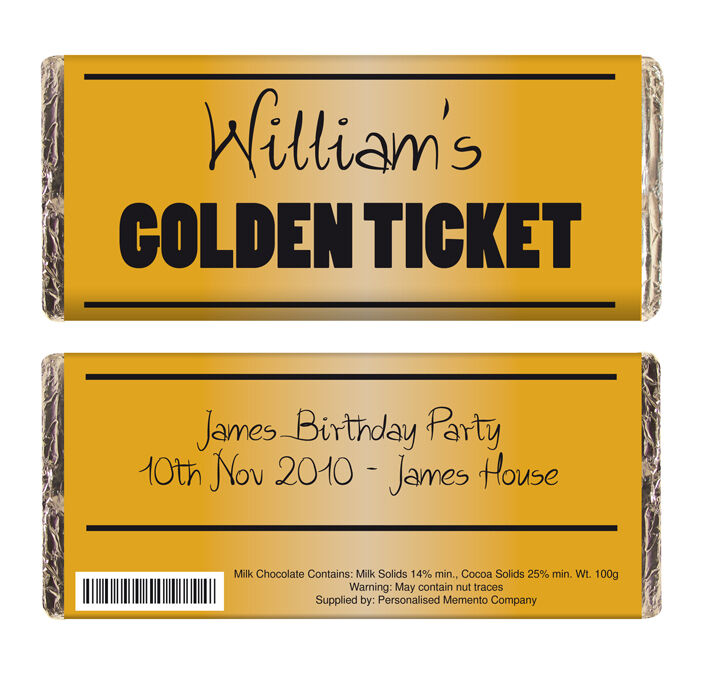 PERSONALISED GOLDEN TICKET CHOCOLATE BAR GIFT Willy Wonka Party