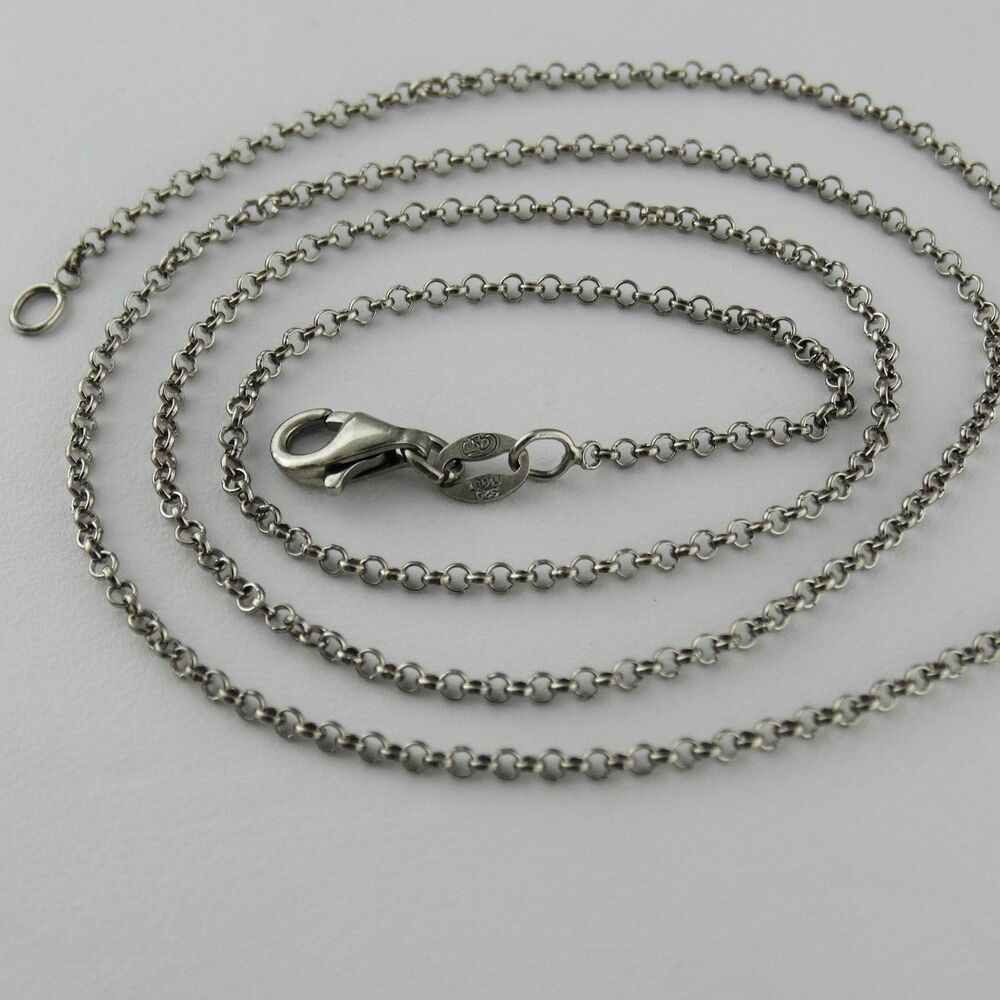 Rollo 24 Oxidized Sterling Silver Rolo Chain Necklace 1 2mm 025 Rollo 925 Italy 16 24