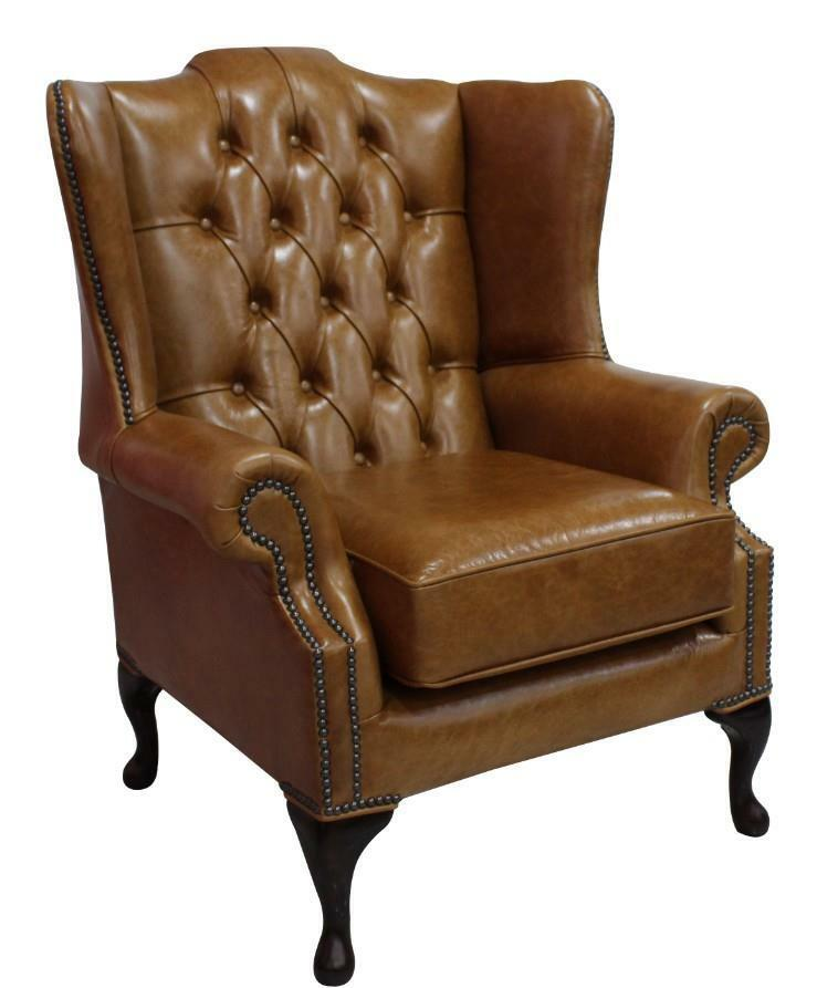 Chesterfield Mallory Queen Anne High Back Wing Chair Old - Leather Queen Chair