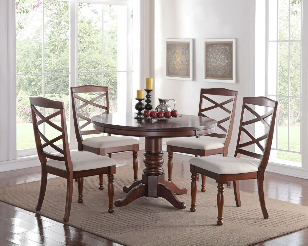 Lounche Dining Set Eden 5pc Round Pedestal Cherry Finish Wood Kitchen Dining