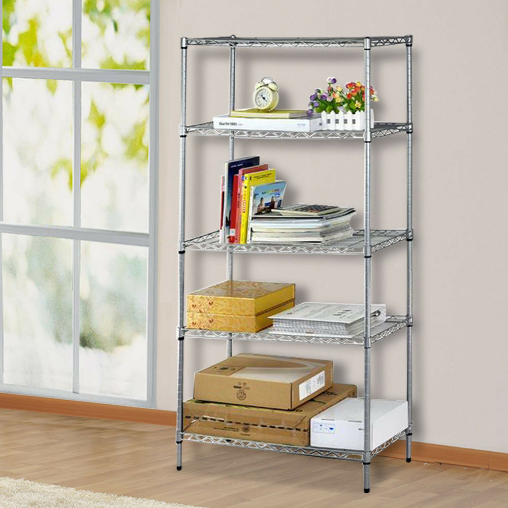 Au 5 Tier Adjustable Layer Shelving Unit Steel Wire Metal