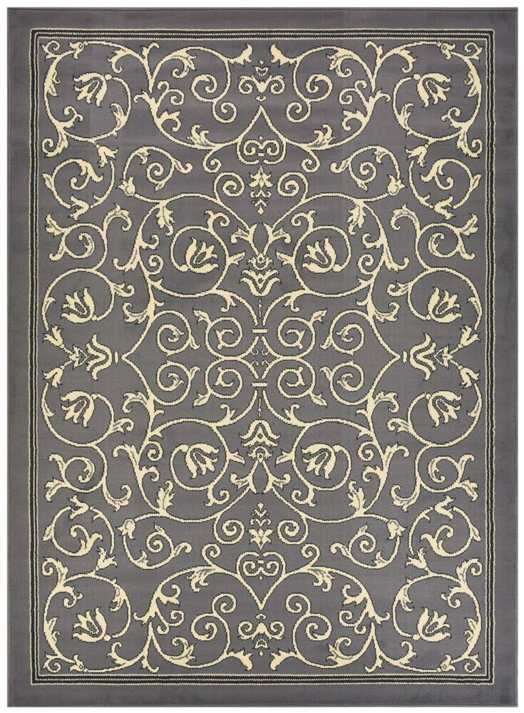 Persian Veronica Grey Scroll Traditional Area Rugs Carpet