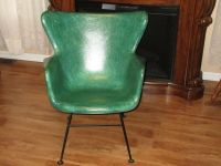 Lawrence Peabody Green Selig Fiberglass Wingback Arm Chair ...